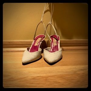 Shoes - Vintage White Crocheted Leather Heels